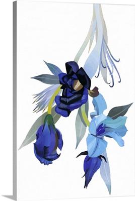 Flower Drawn With Blue Tone