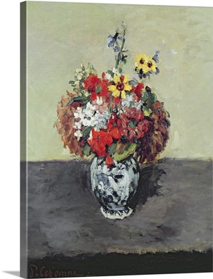 Flowers in a Delft vase, c.1873 75