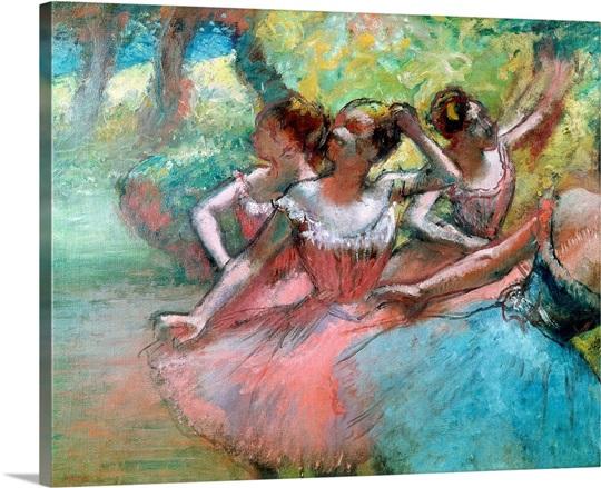 Four ballerinas on the stage (pastel)