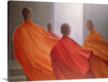 Four Monks on Temple Steps (oil on canvas)