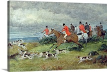 Fox Hunting in Surrey, 19th century (watercolour)
