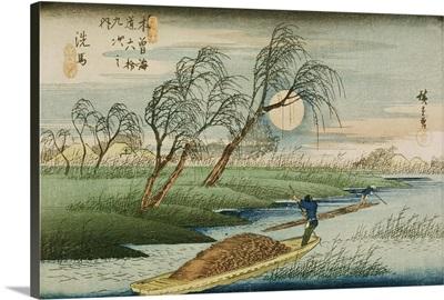 Full Moon at Seba, from the series '69 Stations of the Kisokaido', c.1837-42