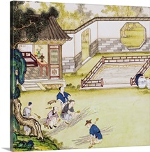 Gathering bamboo to make paper (coloured engraving)