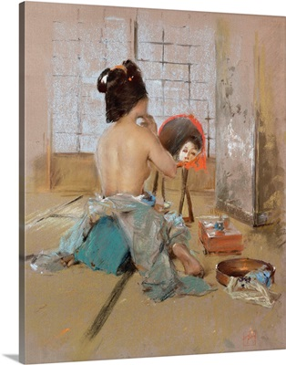 Geisha at her Toilet (pastel on paper laid down on board)