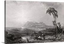 Gibraltar seen from the Algeciras (engraving)