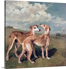 Greyhounds (oil on canvas)