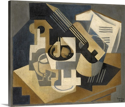 Guitar And Fruit Bowl On A Table, 1918