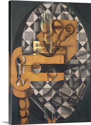 Guitar, Bottle, and Glass, 1914