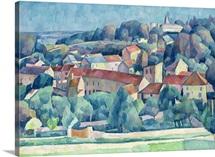 Hardricourt Village and Castle (oil on canvas)