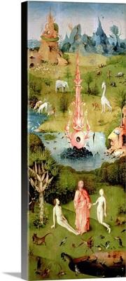 he Garden of Earthly Delights: The Garden of Eden, left wing of triptych,