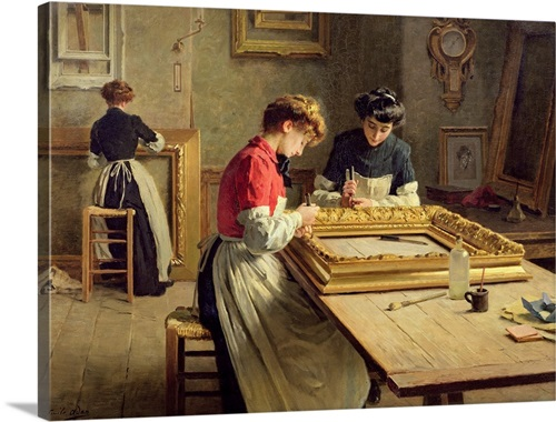 Interior of a Frame Gilding Workshop by Louis Emile Adan Wall Art ...