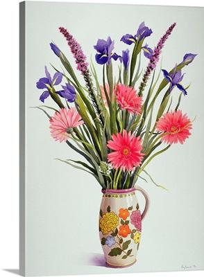 Irises and Berbera in a Dutch Jug