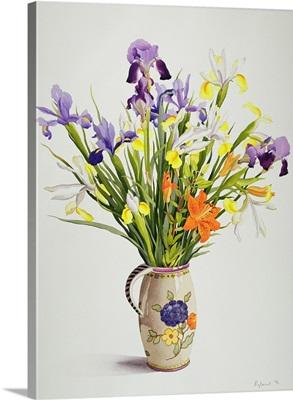 Irises and Lilies in a Dutch Jug