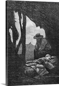 Jean Valjean Watching Over Cosette Asleep Illustration