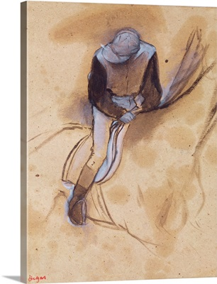 Jockey flexed forward standing in the saddle, 1860 90