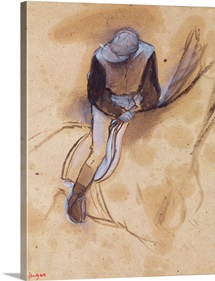 Jockey flexed forward standing in the saddle, 1860 90 (pastel & charcoal on paper)