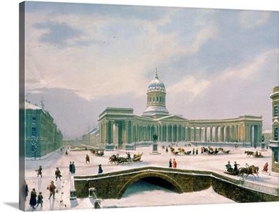 Kazan Cathedral, St. Petersburg, printed by Lemercier, Paris, 1840's