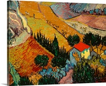 Landscape with House and Ploughman, 1889 (oil on canvas)