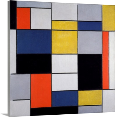 Large Composition With Black, Red, Grey, Yellow And Blue