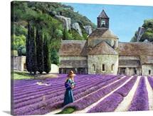 Lavender Picker, Abbaye Senanque, Provence (oil on canvas)