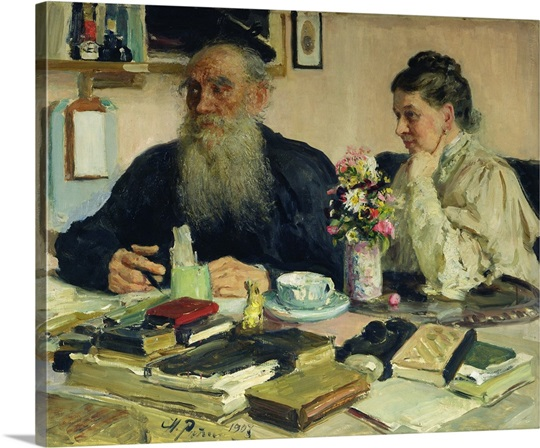 leo tolstoy with his wife in yasnaya polyana 1907 wall art canvas
