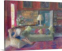 Library at Thorpe Perrow (pastel on paper)