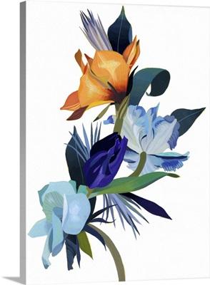 Light Blue Flowers And Orange Flowers