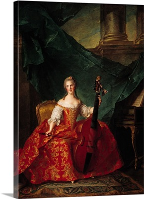 Madame Henriette de France (1727-52) in Court Costume Playing a Bass Viol, 1754