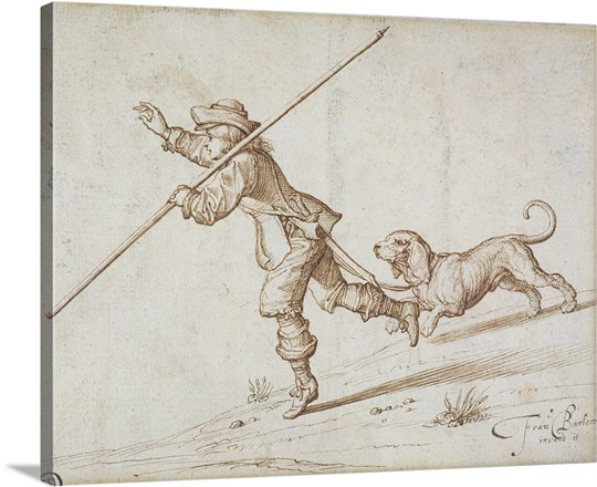Man hunting with a pointed staff and a hound Wall Art, Canvas Prints ...