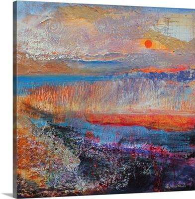 Marsh Sunset 2013, acrylic/ paper collage