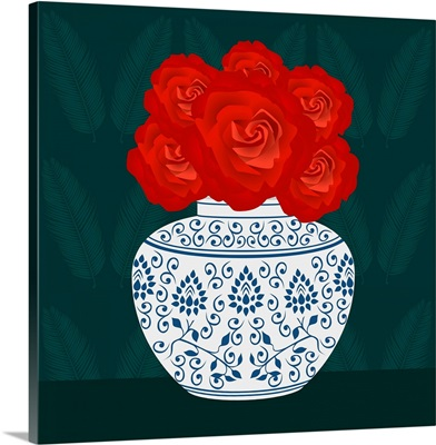 Ming Vase With Roses