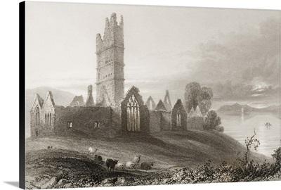 Moyne Abbey, County Mayo, Ireland, from 'Scenery and Antiquities of Ireland'