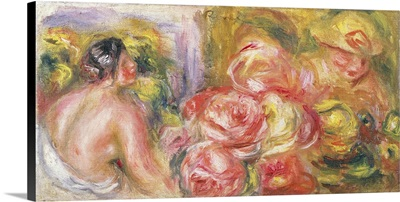 Nude Girl With Hat And Roses, 1916