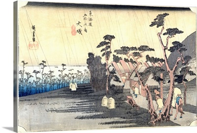 Oiso: Toraga Ame Shower, from the series 53 Stations of the Tokaido Road, 1834-35