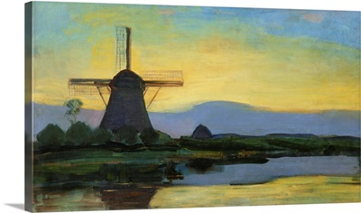 Oostzijdse Mill With Extended Blue, Yellow And Purple Sky