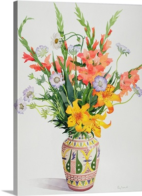 Orange and Blue Flowers in a Moroccan Vase
