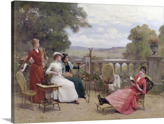 Painting on the Terrace (oil on canvas)