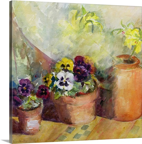 Pansies and Terracotta Pots Wall Art, Canvas Prints, Framed Prints ...