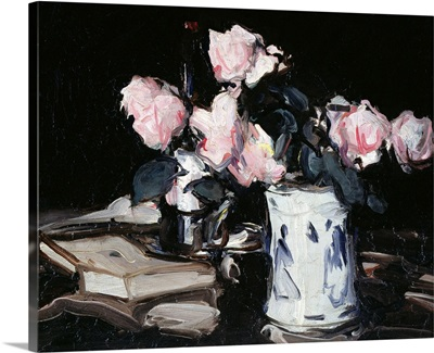 Pink Roses in Blue and White Vase, Black Background, c.1906