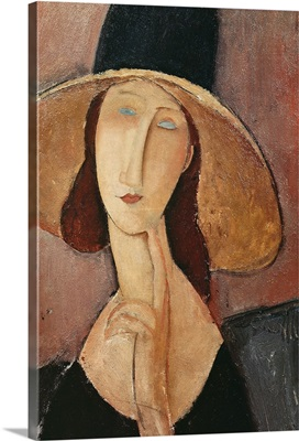 Portrait of Jeanne Hebuterne in a large hat, c.1918-19