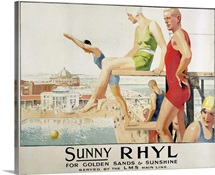 Poster advertising Sunny Rhyl (colour litho)