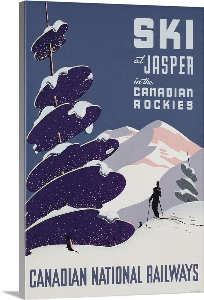Poster advertising the Canadian Ski Resort Jasper Wall Art 235782ad2
