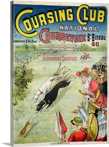 Poster advertising the opening of the Coursing Club at Courbevoie (litho)