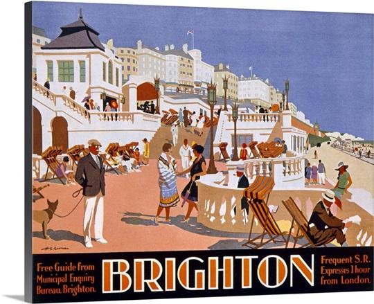 Poster advertising travel to brighton canvas