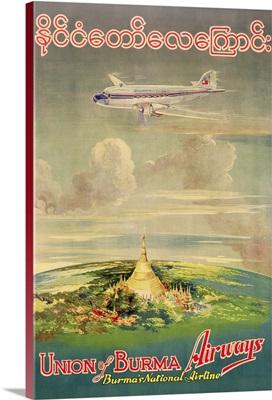 Poster advertising 'Union of Burma Airways', 1950