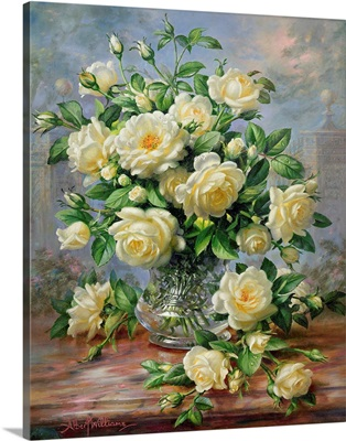 Princess Diana Roses in a Cut Glass Vase