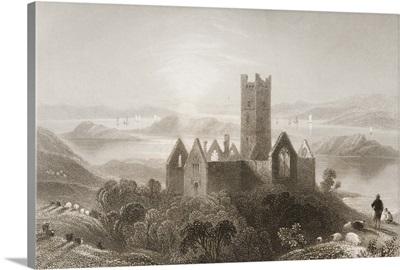 Roserk Abbey, County Mayo, Ireland, from 'Scenery and Antiquities of Ireland'
