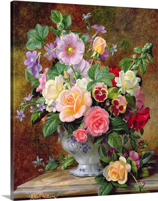 Roses, pansies and other flowers in a vase