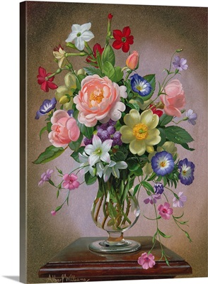 Roses, Peonies and Freesias in a glass vase