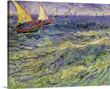Seascape at Saintes Maries (View of Mediterranean) 1888 (oil on canvas)